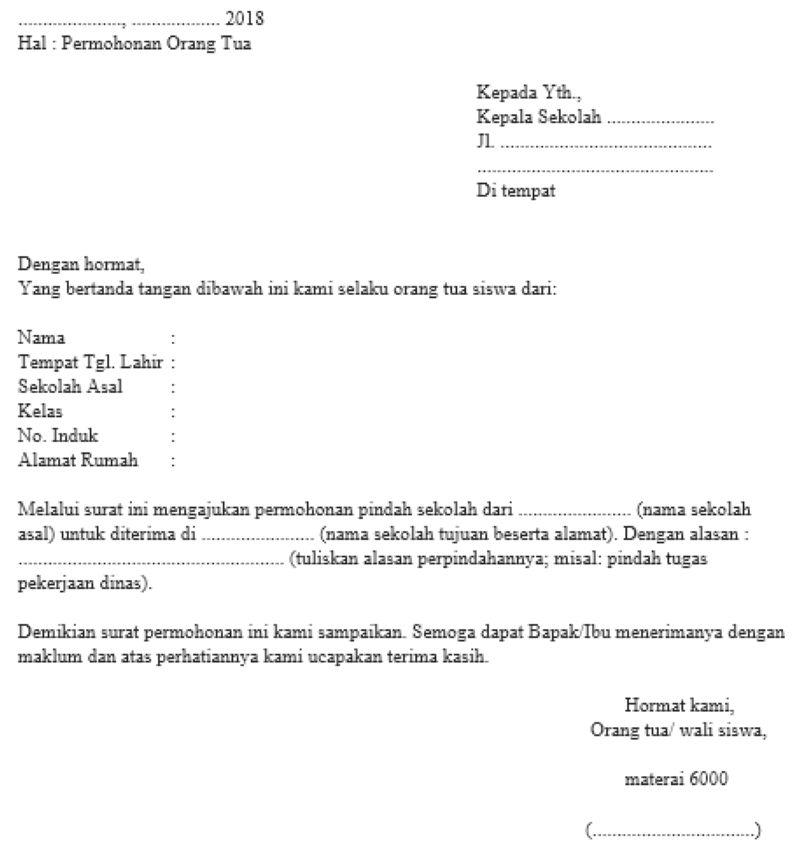 6. Contoh Surat Permohonan Pribadi