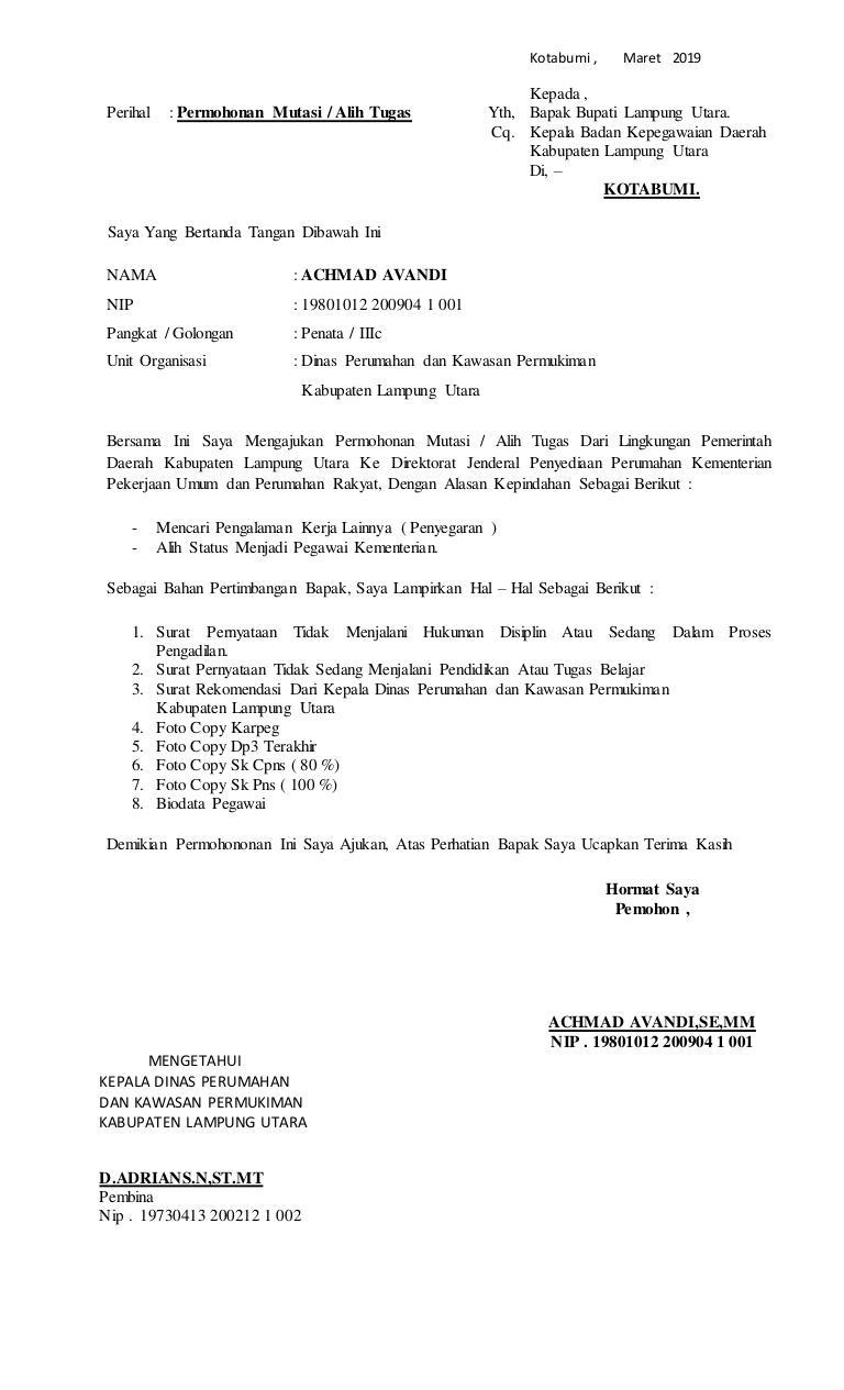 8. Contoh Surat Permohonan Pindah Tugas
