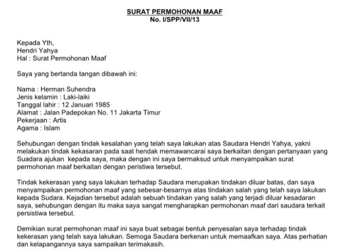 3. Contoh Surat Permohonan Maaf Resmi