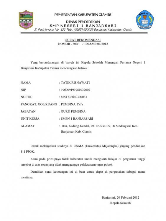 1. Contoh Surat Rekomendasi Kepala Sekolah Untuk Beasiswa