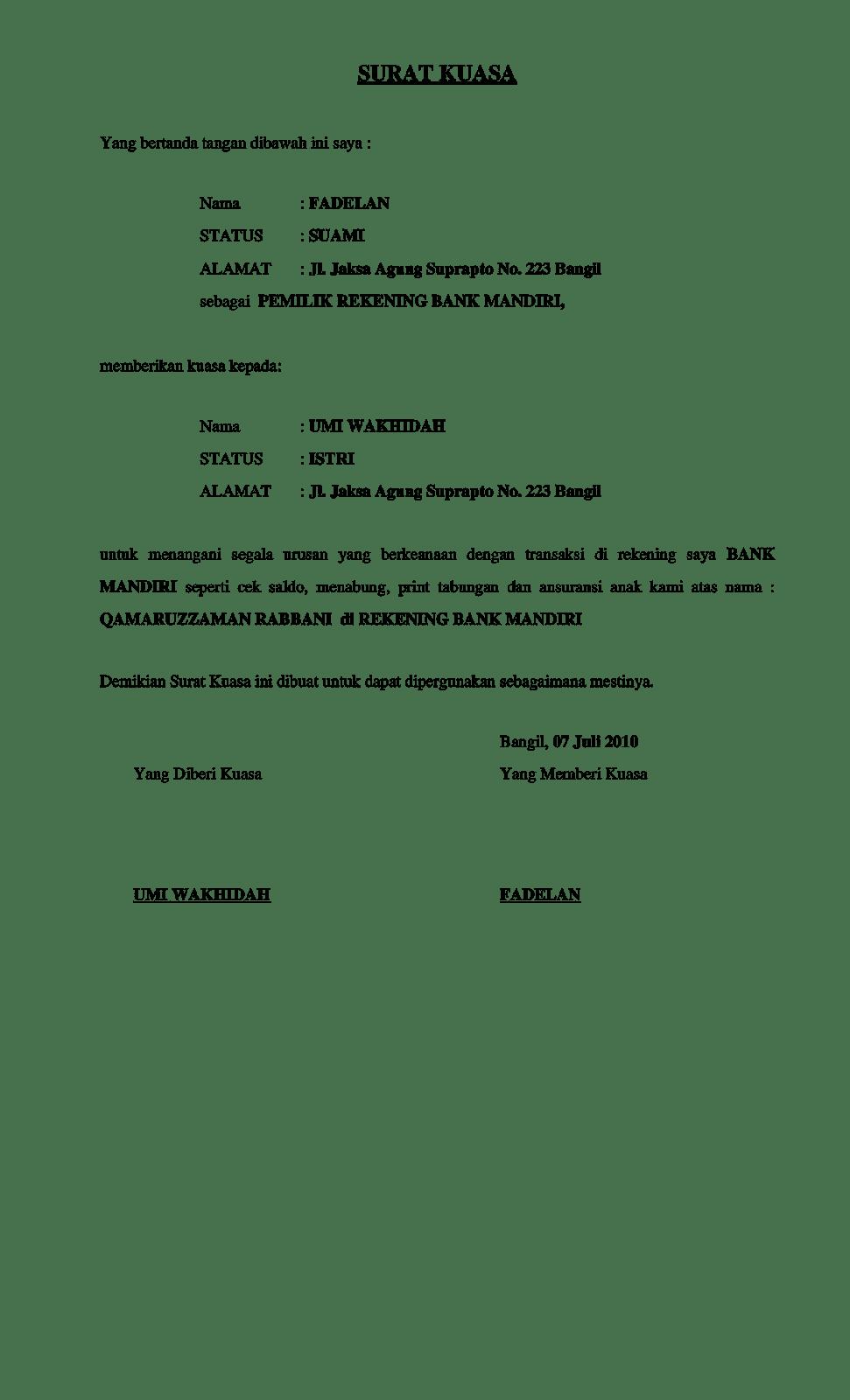 2. Contoh Surat Kuasa Rekening Bank