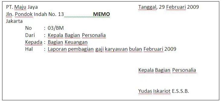 6. Contoh Memorandum Kenaikan Gaji