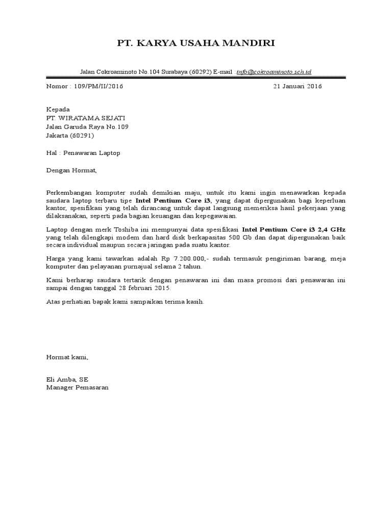 1. Contoh Surat Full Block Style Penawaran Barang