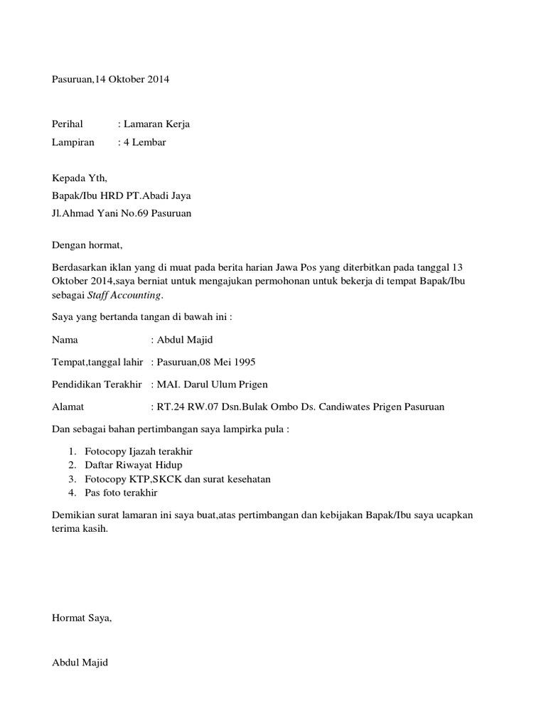 3. Contoh Surat Lamaran Kerja Full Block Style