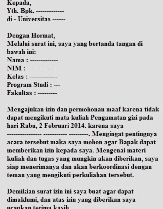 10. Contoh Surat Izin Tidak Masuk Sekolah SMP