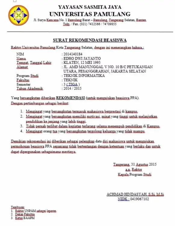 10. Contoh Surat Rekomendasi Dari Kepala Desa Lurah