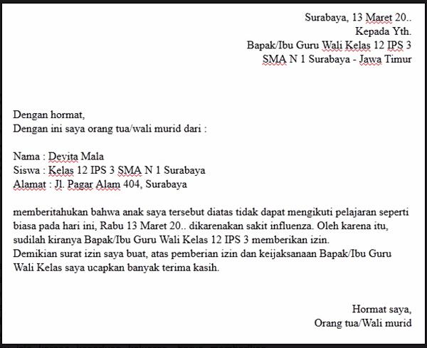 11. Contoh Surat Izin Tidak Masuk Sekolah SMA