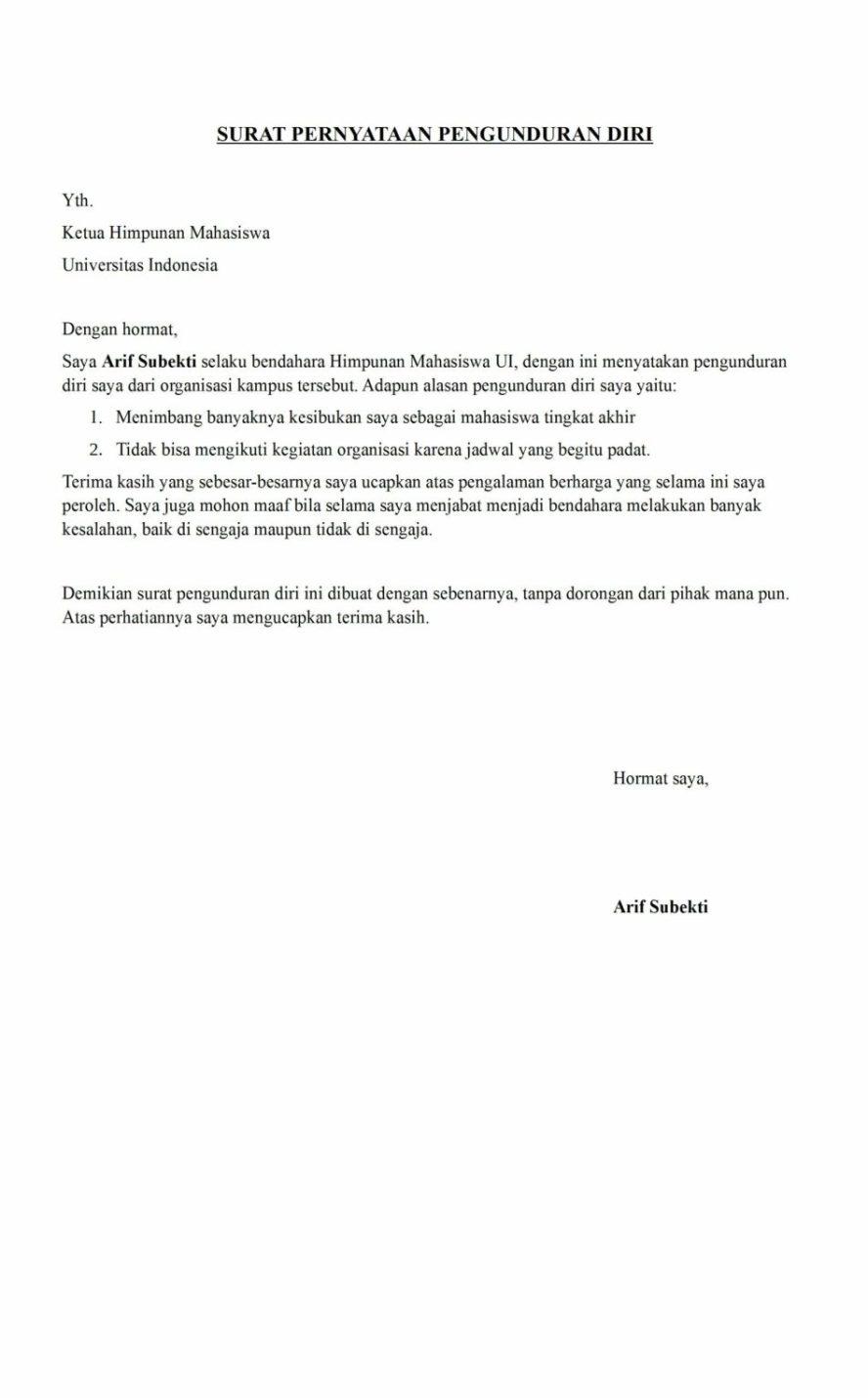 14. Contoh Surat Resign Organisasi Kampus