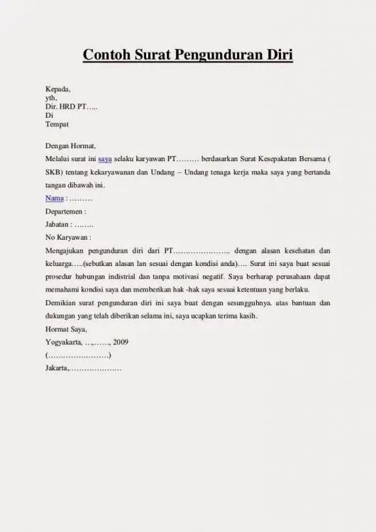 3. Contoh Surat Resign Karena Kesehatan