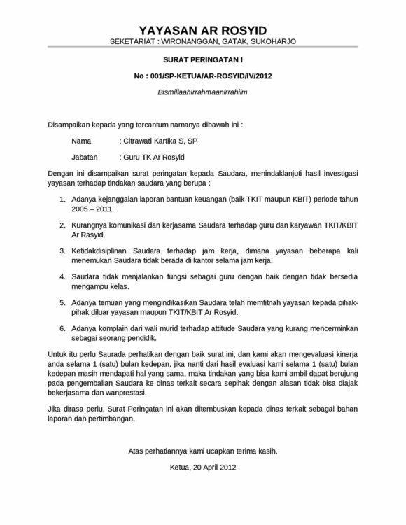 4. Contoh Surat Teguran Dinas