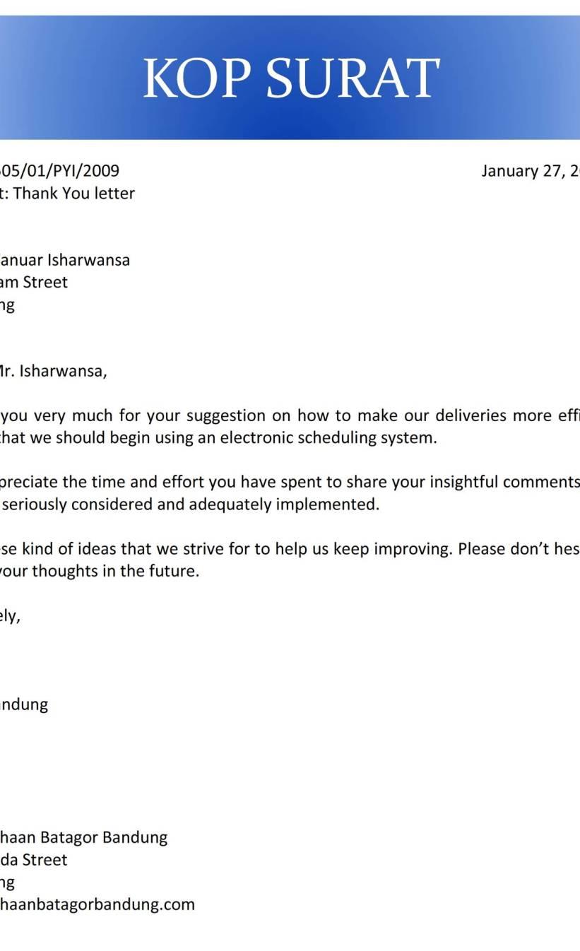 6. Contoh Surat Ucapan Terima Kasih Dalam Bahasa Inggris
