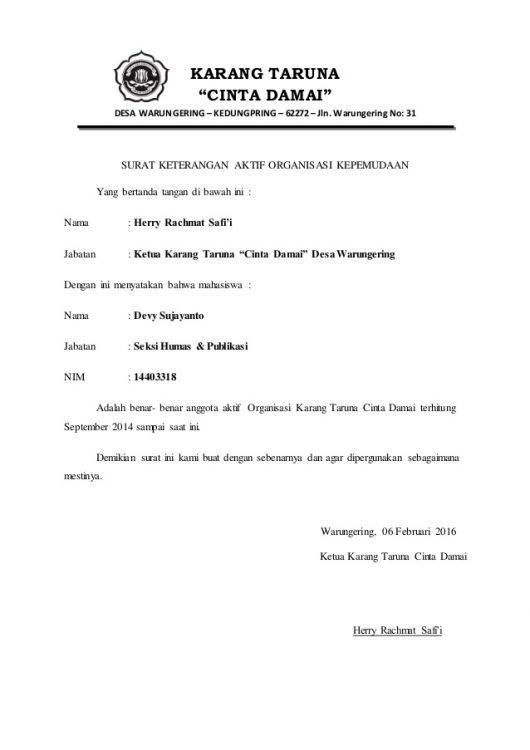 7. Contoh Surat Rekomendasi Organisasi