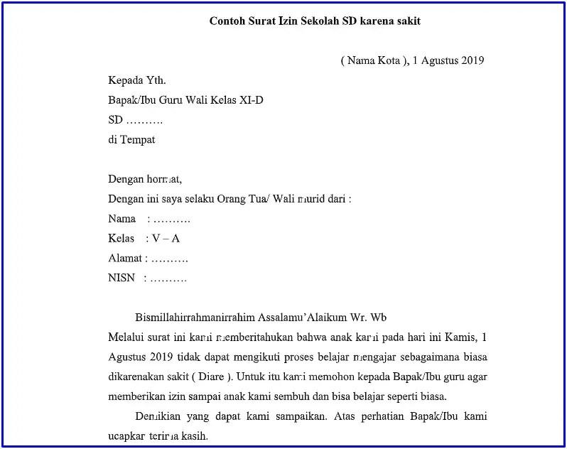 9. Contoh Surat Izin Tidak Masuk Sekolah SD