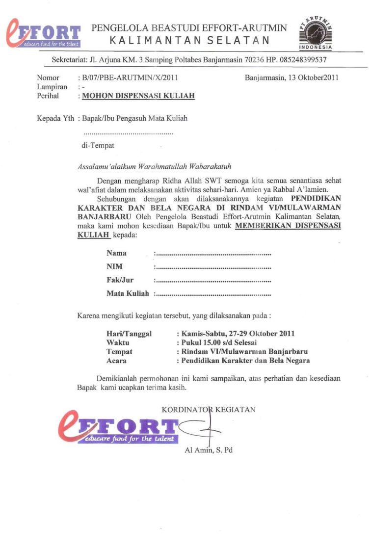 2. Contoh Surat Dispensasi Kuliah Dari Organisasi