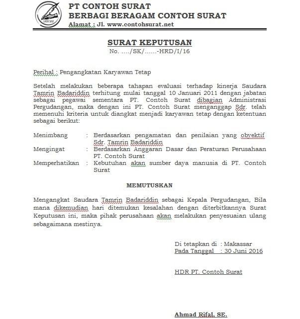 3. Contoh Surat Pengangkatan Jabatan Karyawan Swasta