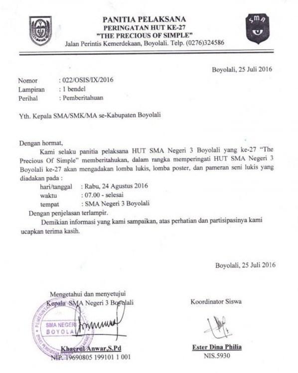 4. Contoh Surat Pemberitahuan Resmi Sekolah
