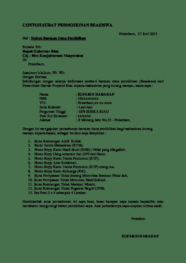 9. Contoh Surat Pengajuan Beasiswa