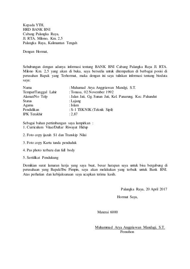 1. Contoh Surat Lamaran Kerja Di Bank BNI