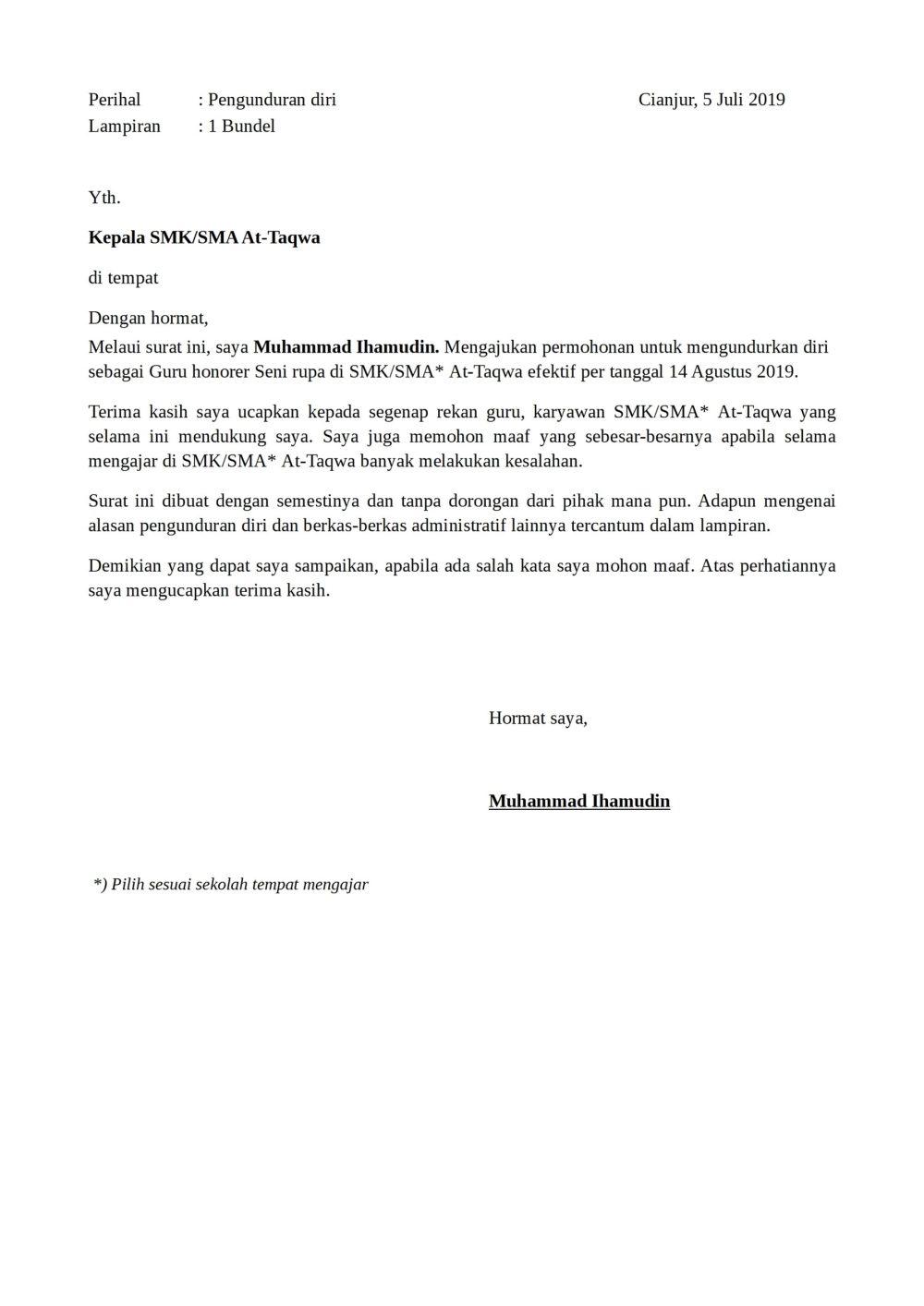 1. Contoh Surat Pengunduran Diri Guru Sederhana