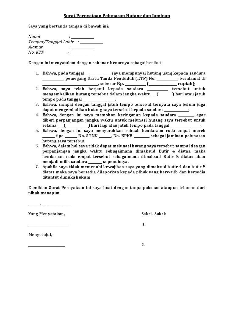 1. Contoh Surat Pernyataan Kesanggupan Membayar Hutang Dengan Jaminan