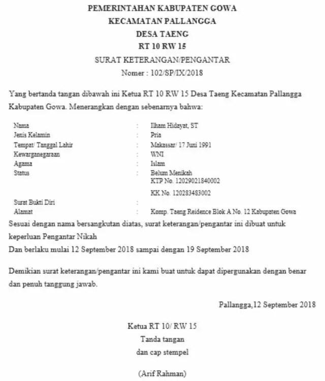 10. Contoh Surat Permohonan Rekomendasi Pengurusan KK