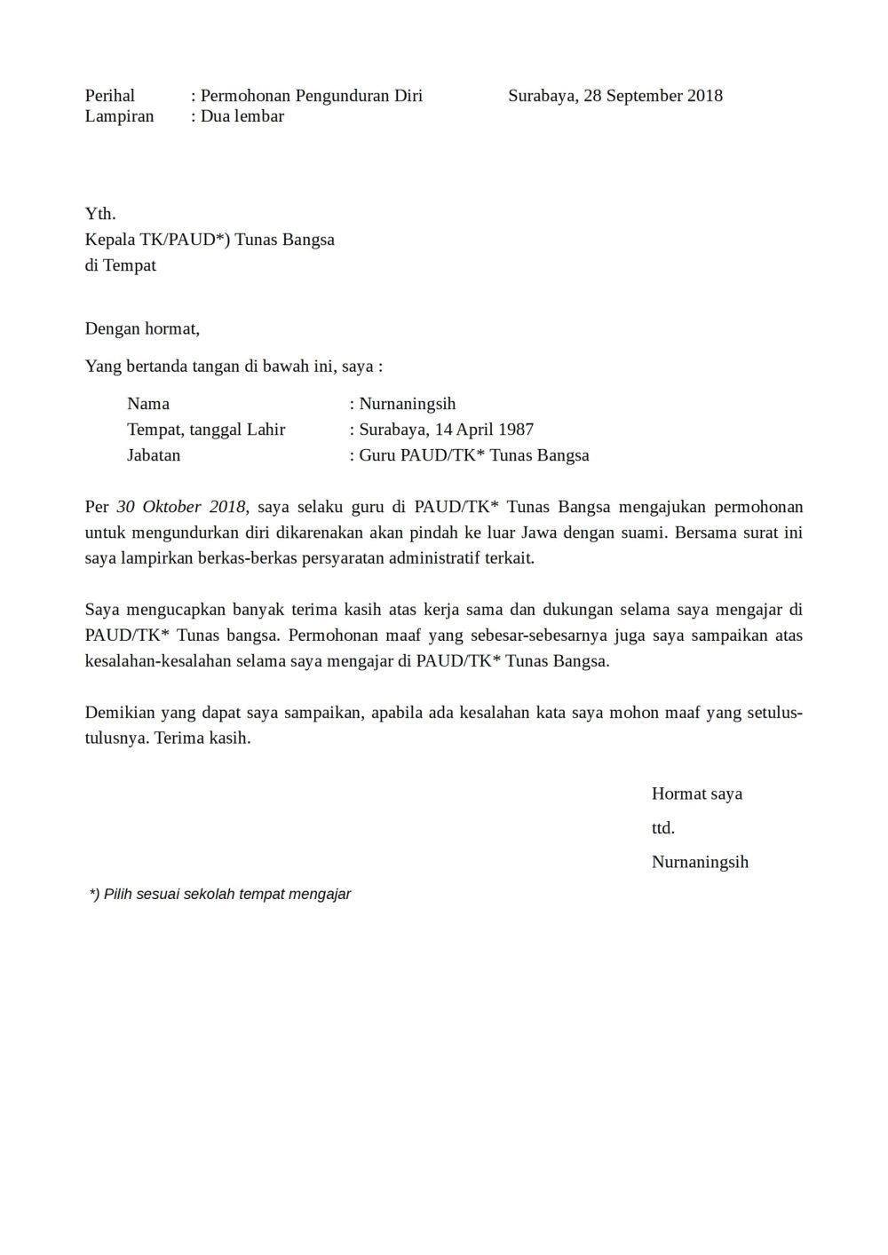 11. Contoh Surat Pengunduran Diri Guru Sekolah