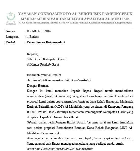 11. Contoh Surat Permohonan Rekomendasi Perizinan