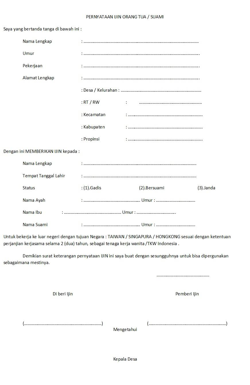 14. Contoh Surat Izin Orang Tua Untuk Bekerja Di Luar Negeri