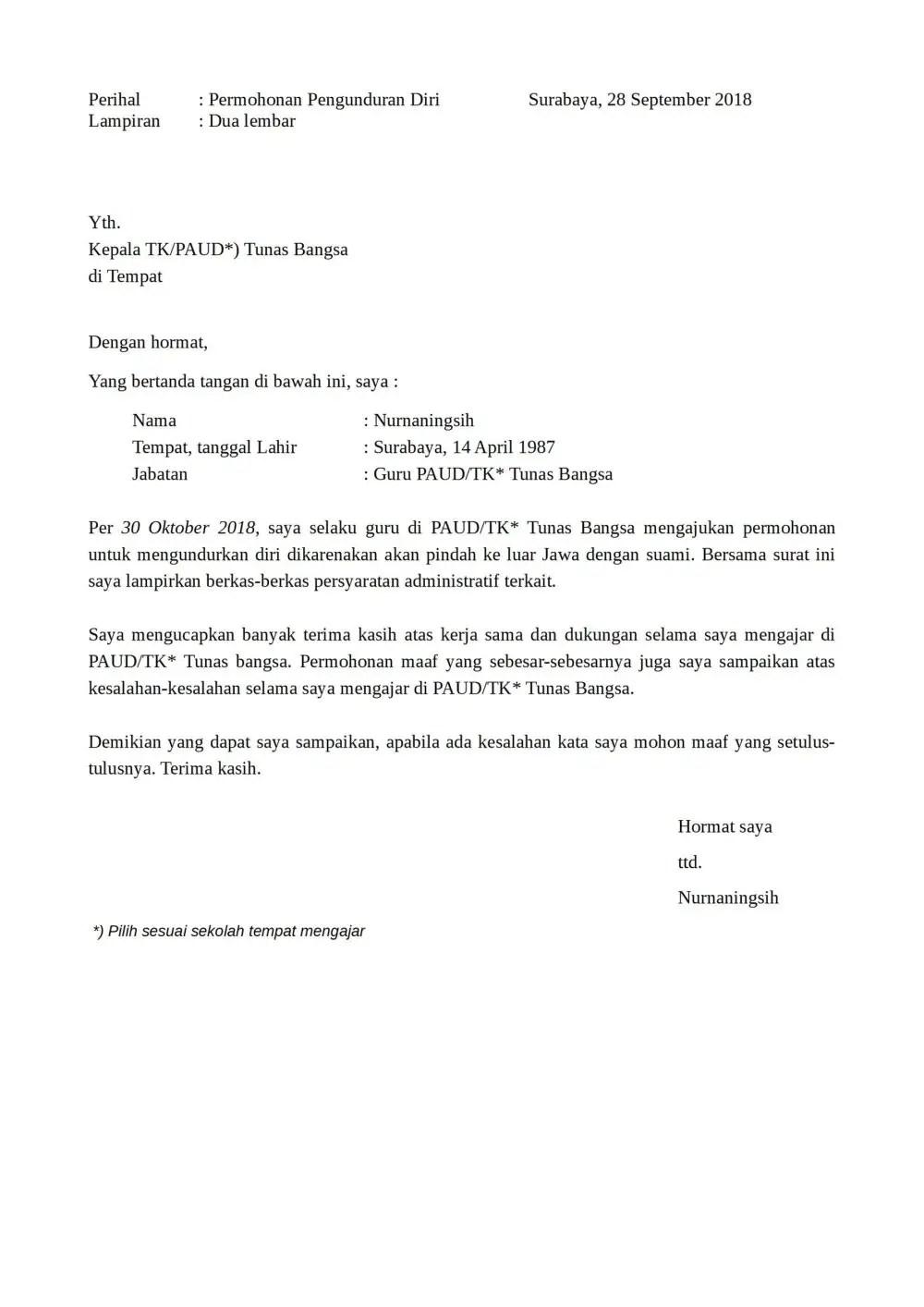 Download Surat Pengunduran Diri Karyawan Doc : download, surat, pengunduran, karyawan, Contoh, Surat, Pengunduran, Kerja, Terlengkap