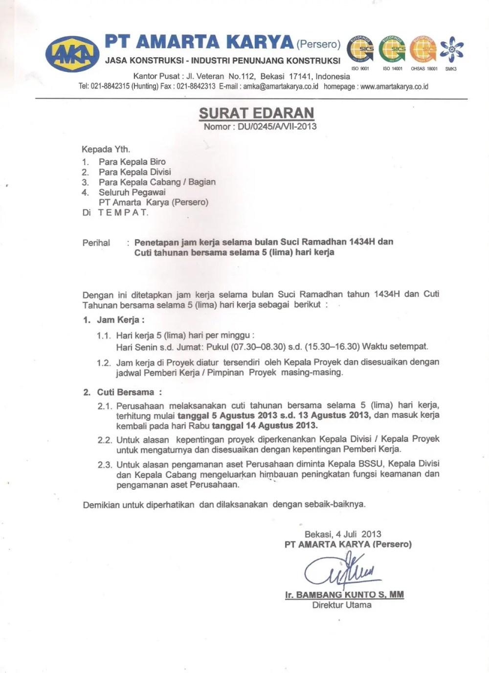 15. Contoh Surat Edaran Resmi Perusahaan