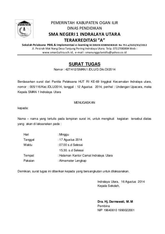 15. Contoh Surat Penugasan Siswa