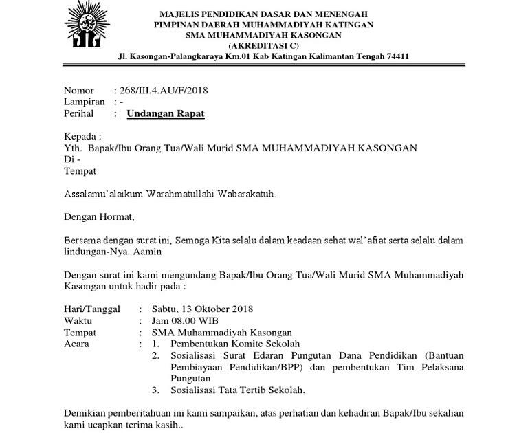 2. Contoh Surat Undangan Dinas Kepada Komite Sekolah