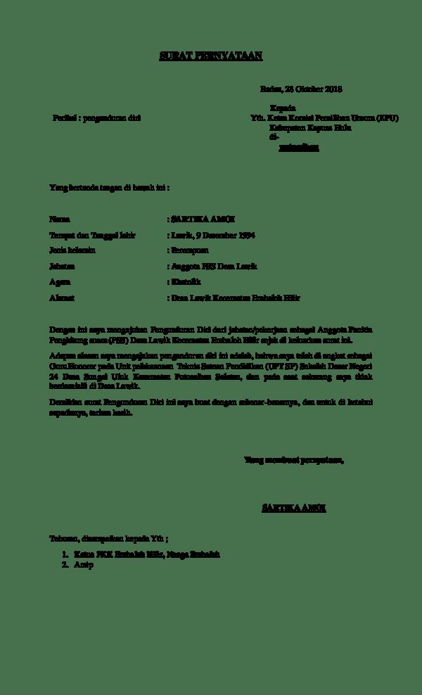 5. Contoh Surat Pengunduran Diri Guru PNS