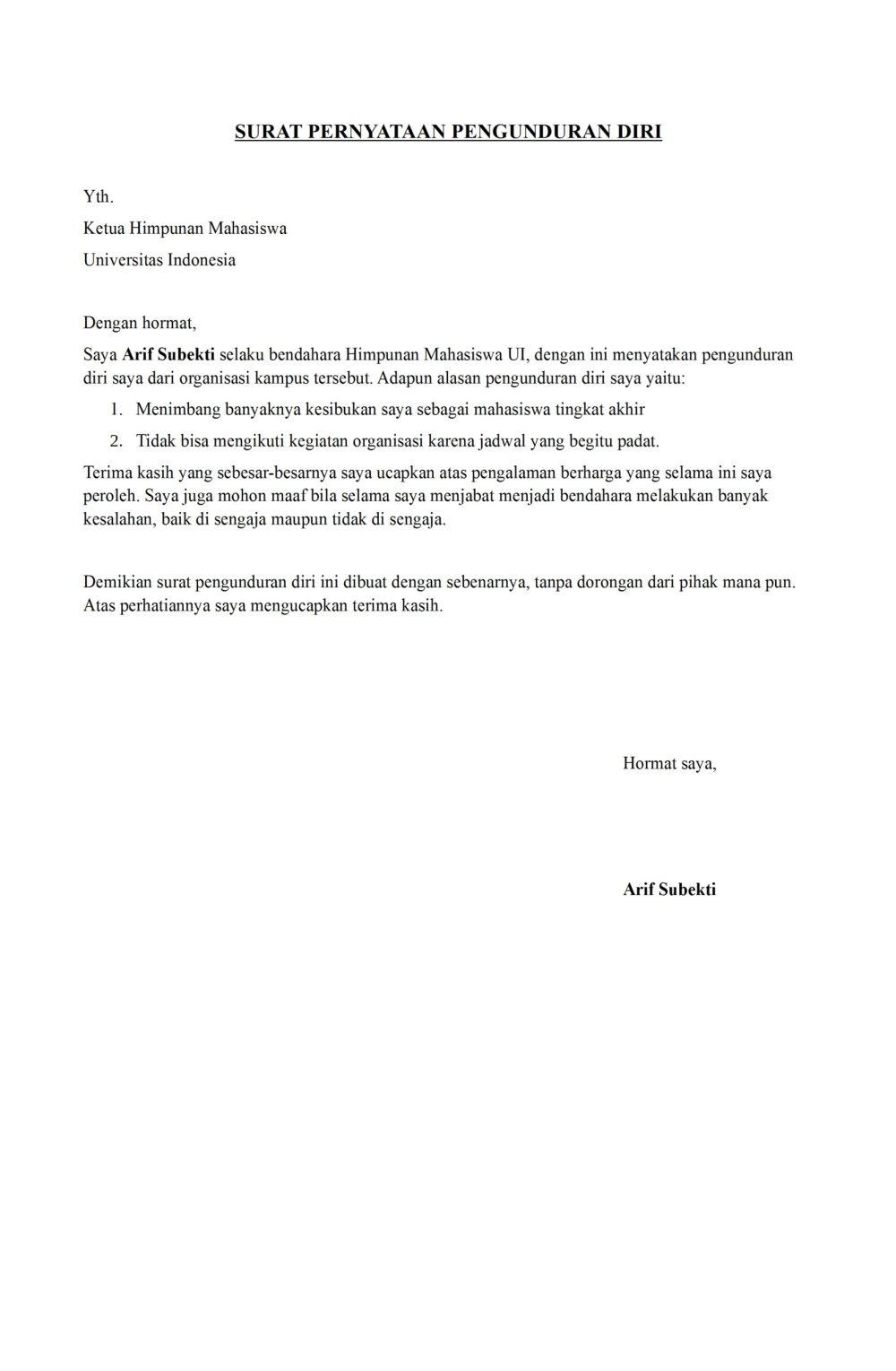 16 Contoh Surat Pengunduran Diri dari Organisasi Lengkap ...
