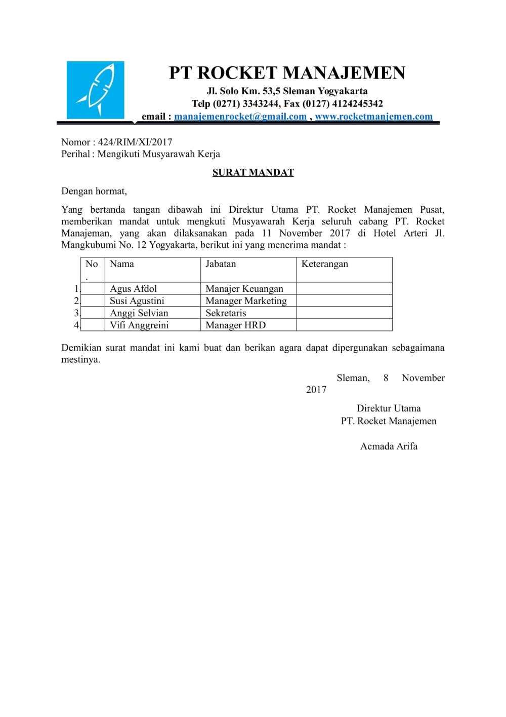 5. Contoh Surat Perintah Tugas Dari Perusahaan