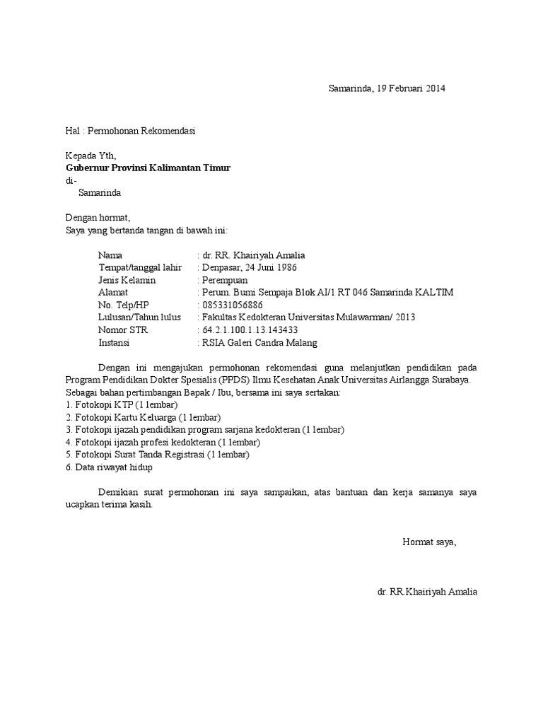 5. Contoh Surat Permohonan Rekomendasi Bupati