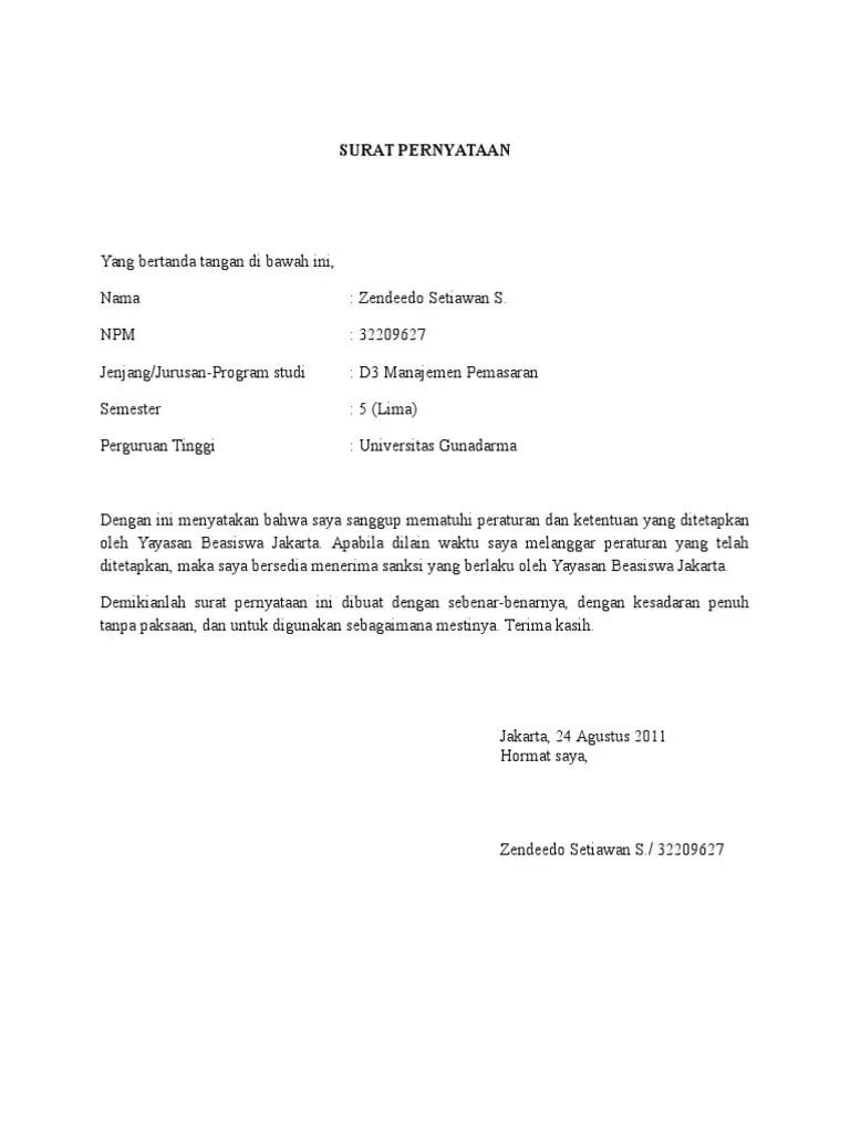 5. Contoh Surat Pernyataan Kesanggupan Mematuhi Peraturan