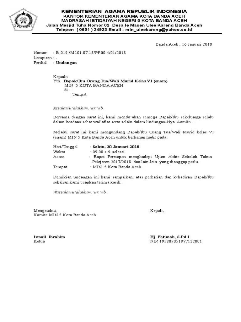 5. Contoh Surat Undangan Rapat Wali Murid
