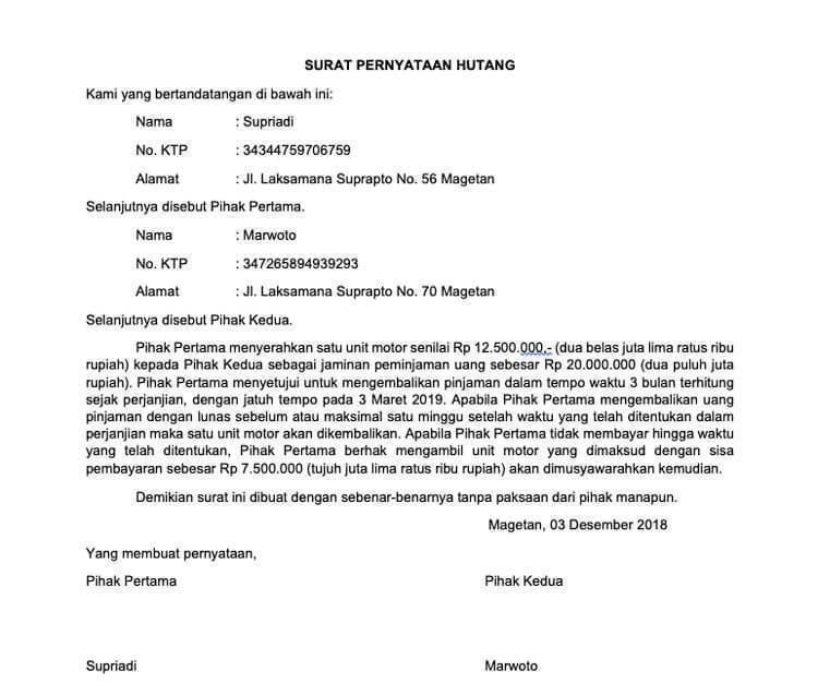 6. Contoh Surat Pernyataan Perjanjian Hutang Piutang