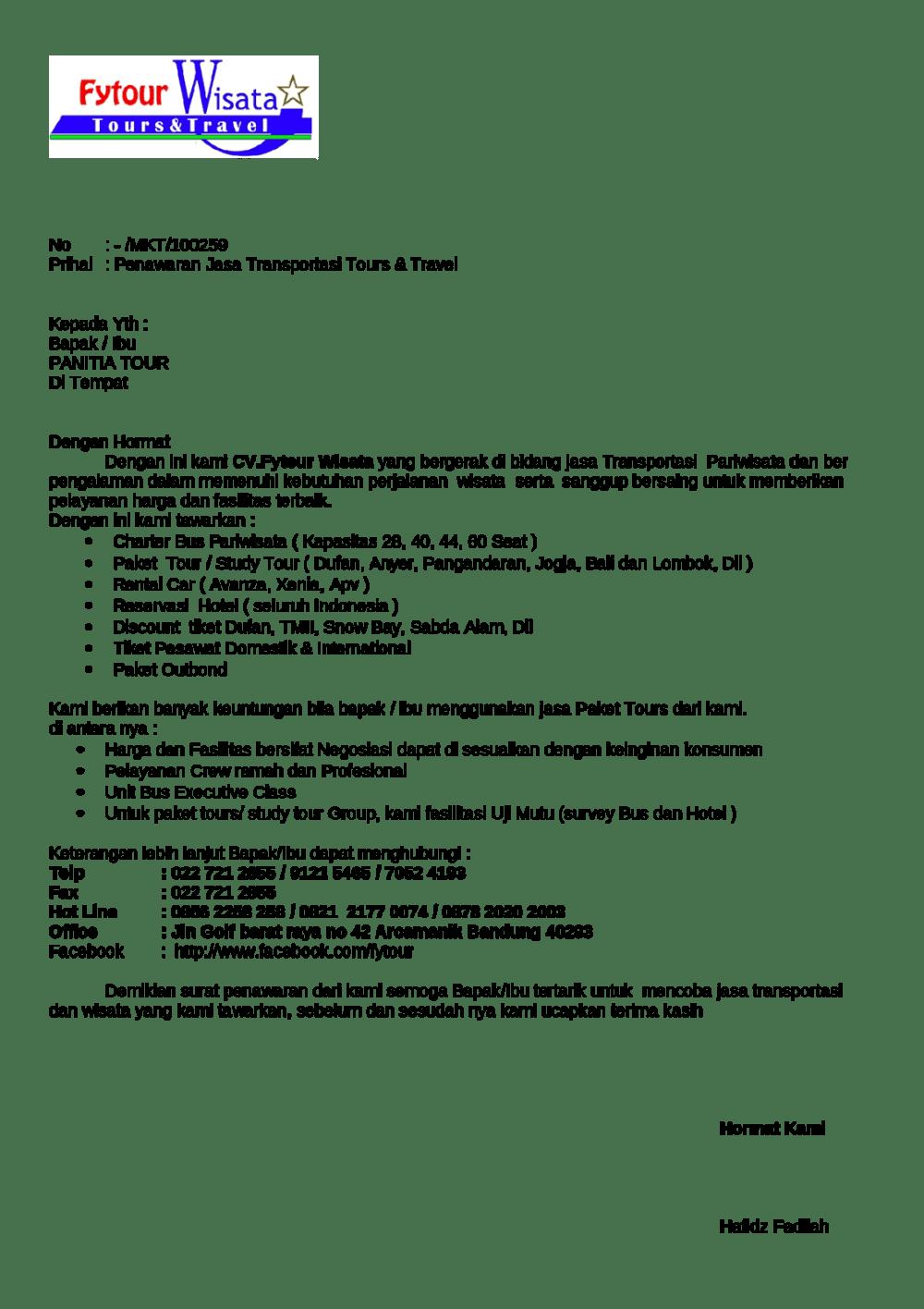 7. Contoh Surat Penawaran Jasa Transportasi