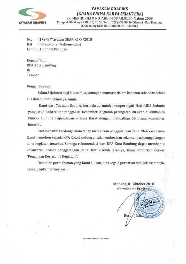 7. Contoh Surat Permohonan Rekomendasi Kepengurusan