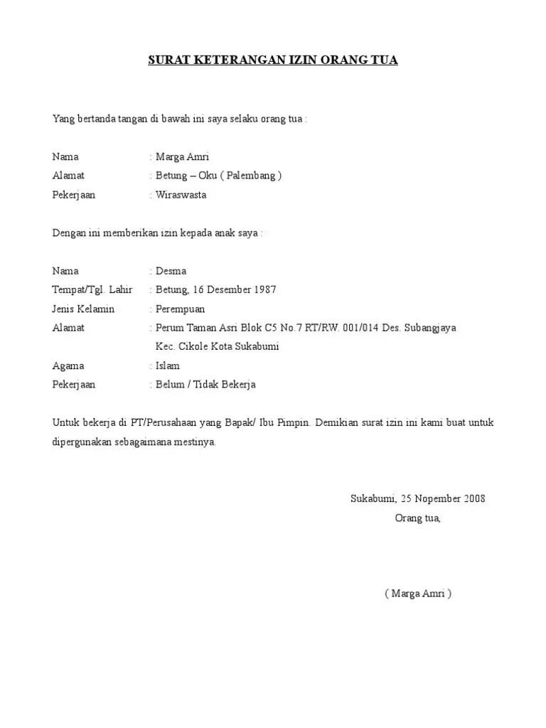 7. Contoh Surat Pernyataan Orang Tua Untuk Bekerja Di Alfamart