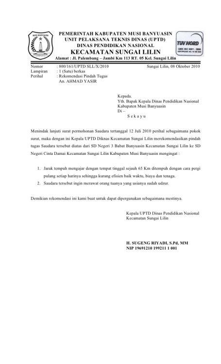 Bagian Surat Permohonan Rekomendasi