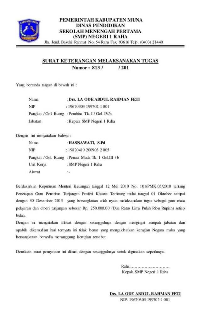 Surat Keterangan Tugas