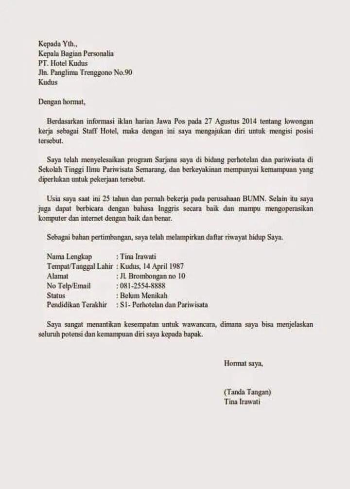 Surat Lamaran di Hotel