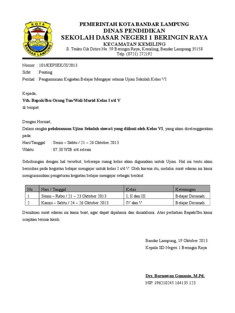 1. Contoh Surat Pengumuman Sekolah Untuk Siswa