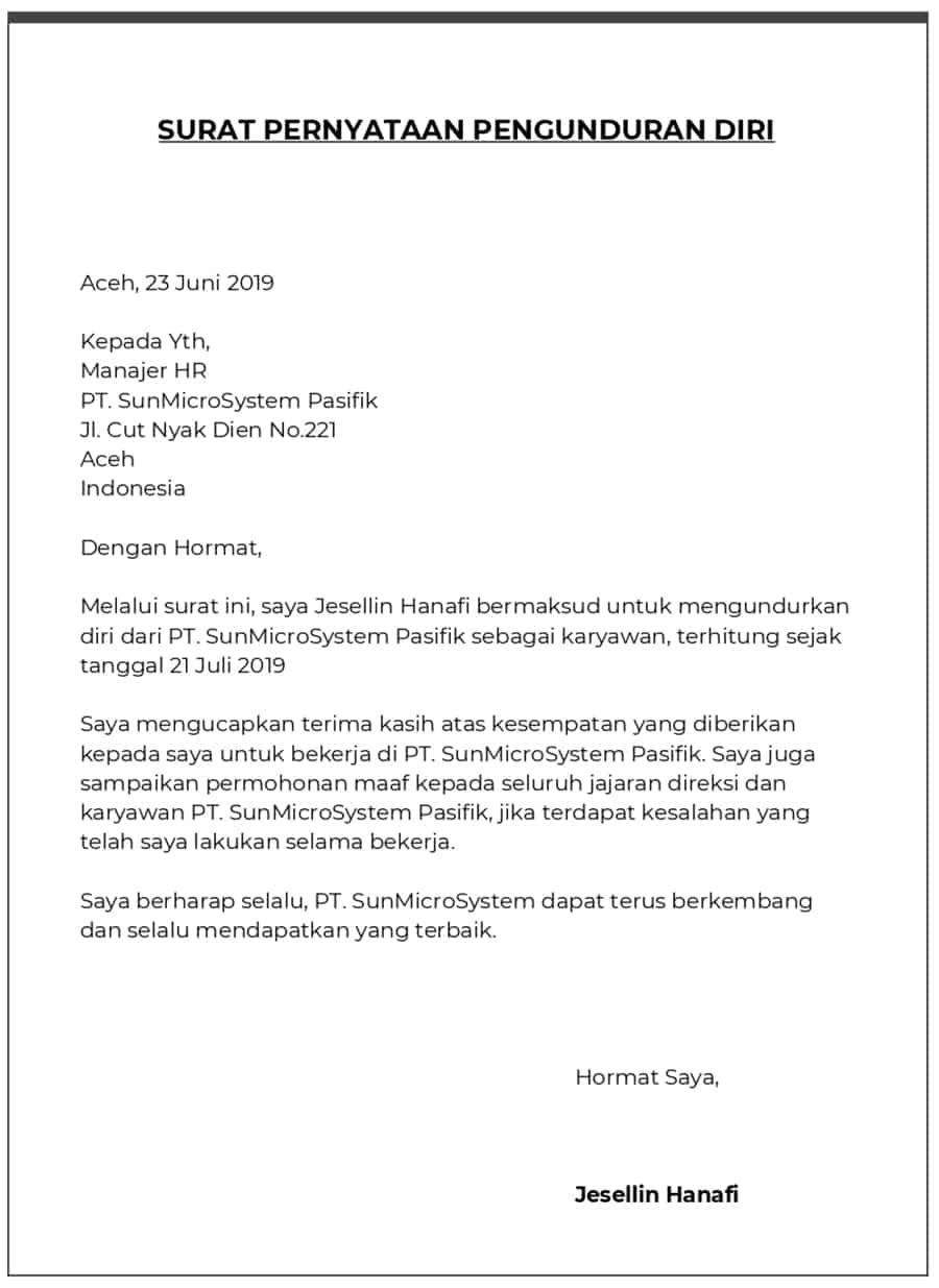 1. Contoh Surat Pernyataan Pengunduran Diri