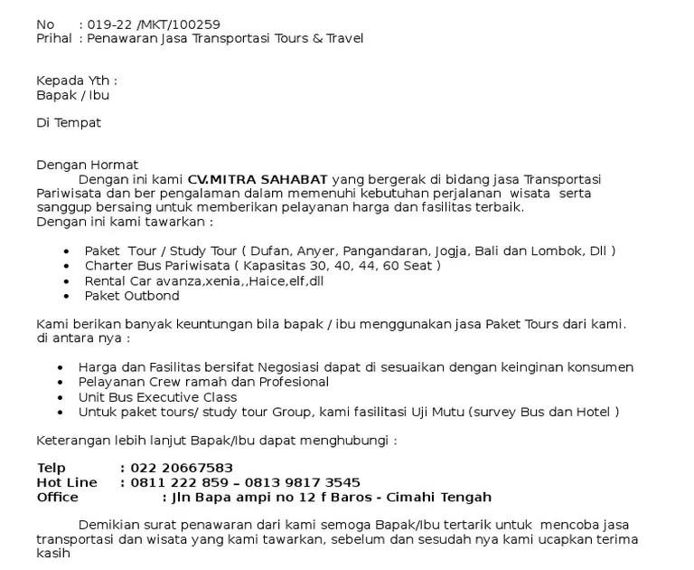 14. Contoh Surat Niaga Penawaran Kerjasama