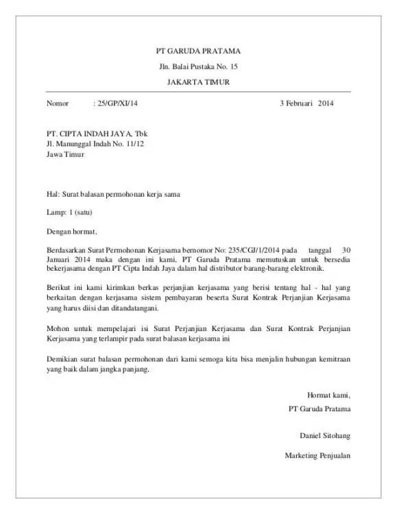 2. Contoh Surat Balasan Permohonan