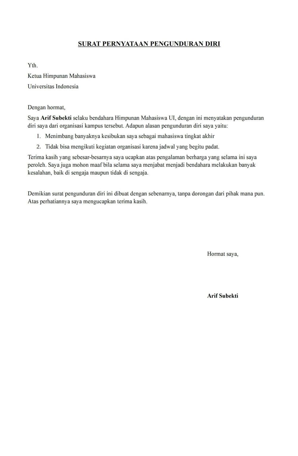 5. Contoh Surat Pernyataan Pengunduran Diri Calon Mahasiswa